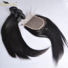 Mèches péruviennes non-remy avec Closure-perruque Lace Closure   Cheveux naturels lisses, pre-plucked, Extension capillaire