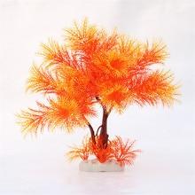 Aquarium en plastique 1 pièce   Simulation plante, arbre à poissons, Aquarium artificiel, arbre Orange vert, décor daquarium décoratif