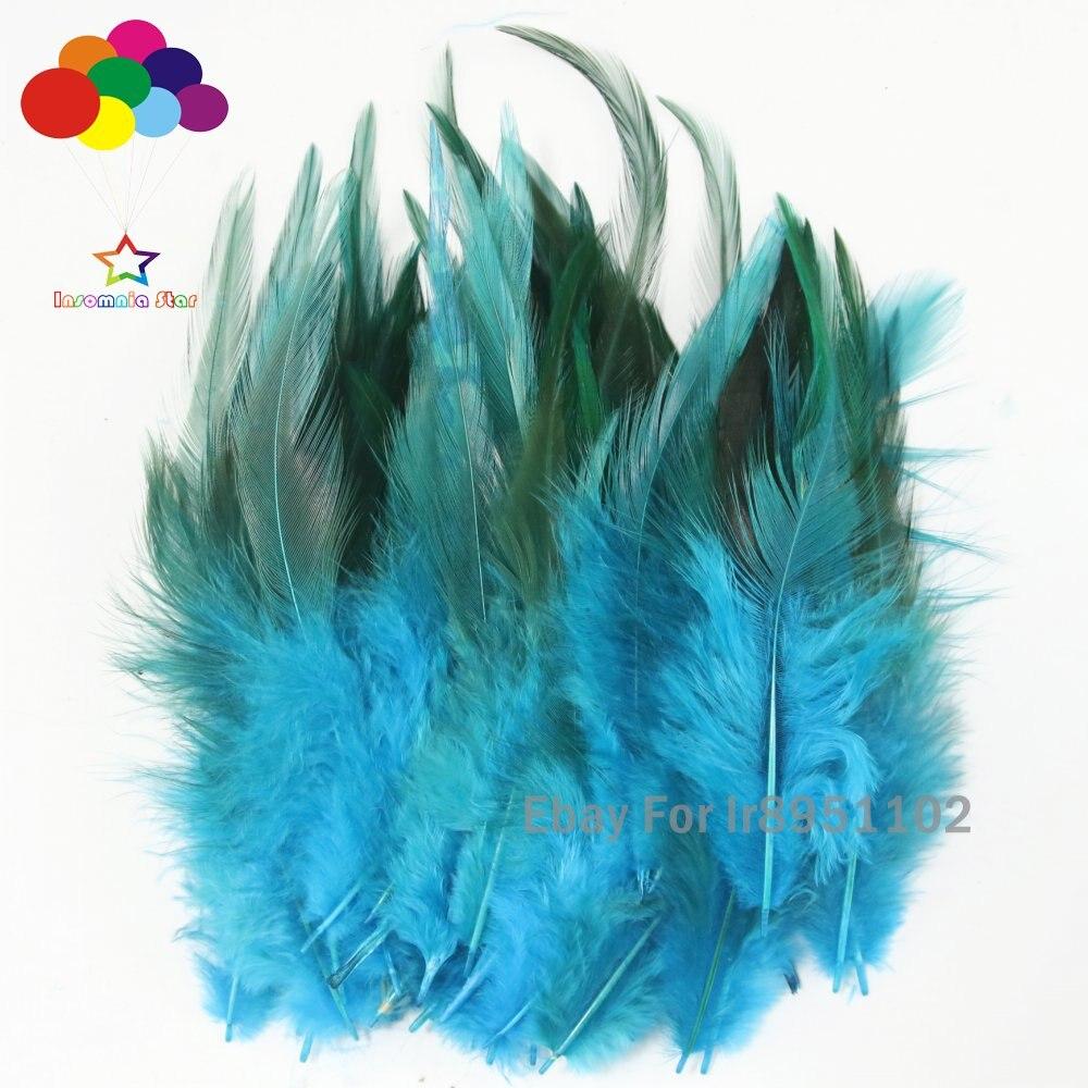 Gefärbt Blau see Huhn Feder 100 stücke Rooster Sattel Haar Extensions Federn für Home Decor