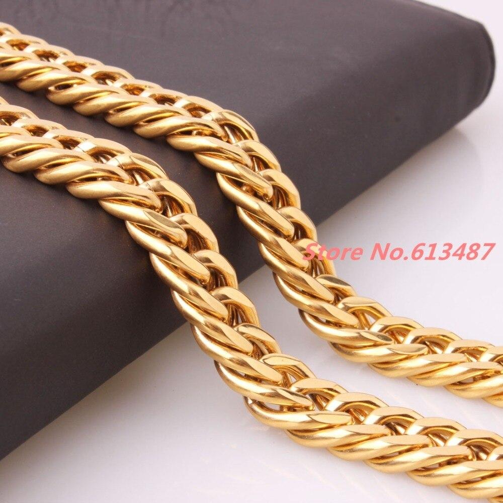 "Cool 7-40 ""12mm 125g oro Acero inoxidable cadena cubana collar o pulsera para hombres mejor regalo"
