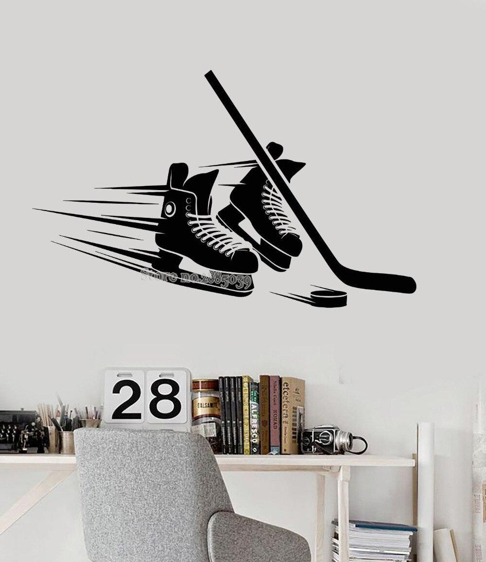 Autocollants muraux en vinyle   Bâtons, Puck équipement, Stickers pour salon chambre à coucher, décor de la maison, joueur de Hockey, autocollants Art moderne murale, LA473
