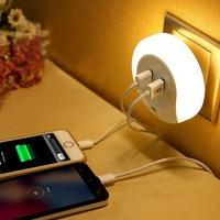 Smart Design LED AC 110/220V Night Light with Light Sensor and Dual USB Wall Plate Charger for Bathrooms Bedroom EU/ US Plug