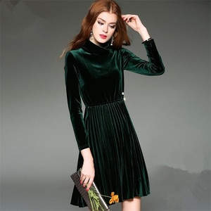 2020 Autumn Winter Elegant Dress Pleated Gold velvet Office Causal Party A-Line Dress Woman Plus Size M-7XL Turtleneck D