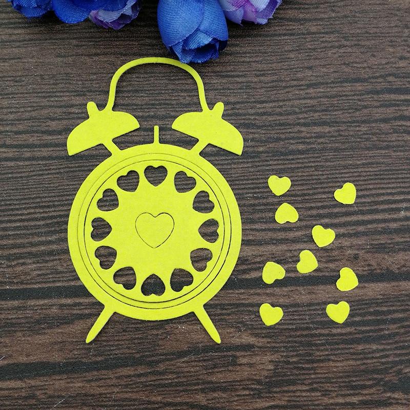 Troqueles de Metal con reloj de corazón para álbum para recortes de fotos plantilla decorativa para Carpeta para grabado en relieve troquelado