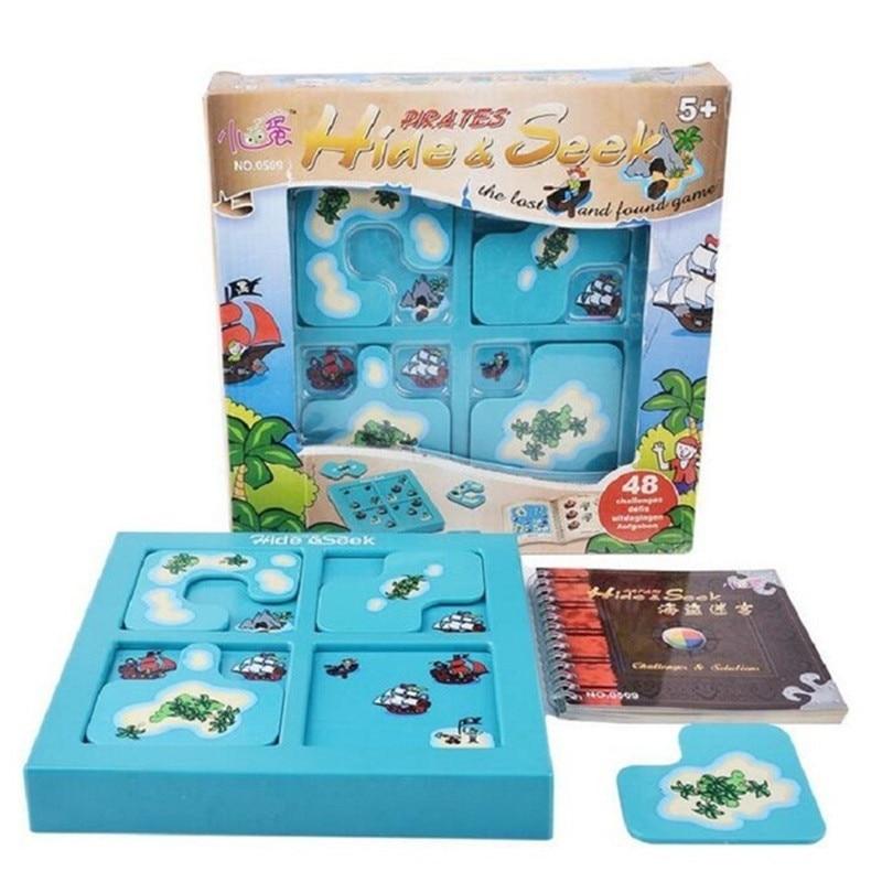 Piratas esconder e procurar iq jogos de tabuleiro 48 desafio com solução livro inteligente iq brinquedos para crianças jogos de festa família brinquedos interativos
