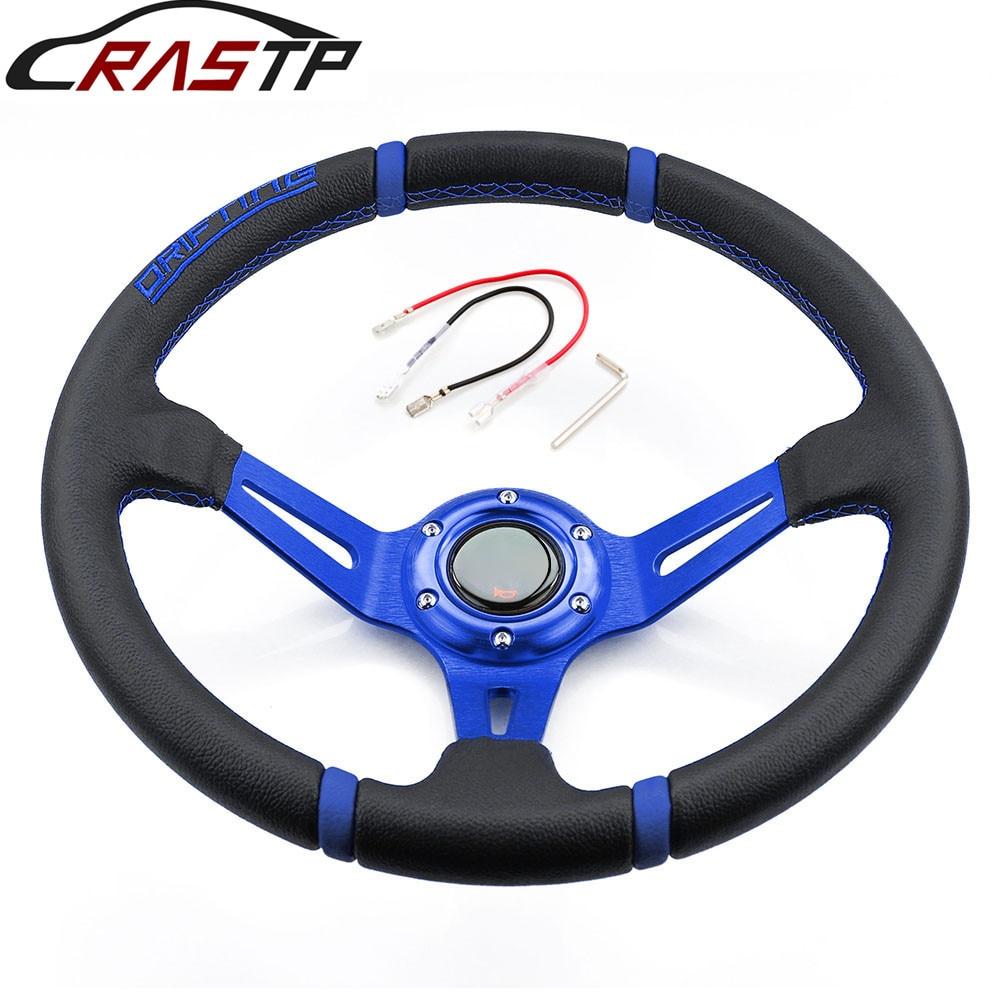 Rastp-universal 14 pulgadas 350mm Deep Corn Drifting volante/volante de cuero con Logo RS-STW002