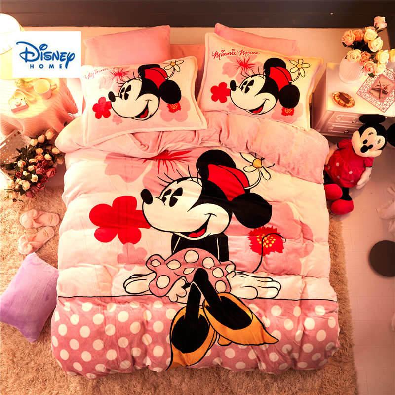 Juego de cama de edredón de Minnie Mouse de franela de lunares rosas, colcha de tamaño doble de chica, funda de cama completa 3d, ropa de cama suave para chico