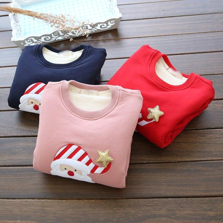 2020 children's clothing baby fleece thickening pullover basic shirt girls plus velvet sweatshirt