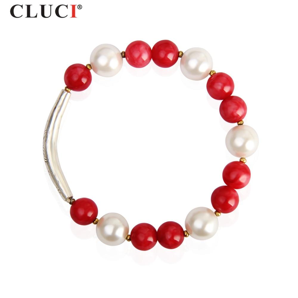CLUCI  New Whit Shell Pearl Bracelet For Women Jewelry  10mm Red Jade Jewelry Bracelets BB004SB