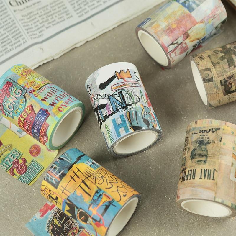 Cinta decorativa de grafiti de saludo Eno, Vintage para cinta decorativa álbum de recortes, cinta para diarios