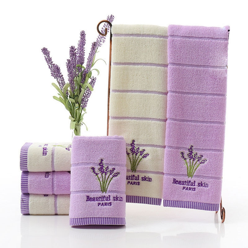 34*75cm Embroidery Romantic Lavender Towels Cotton Beach Towel Washcloths For the pool Napkins Kitchen Towel Toalha De Banho