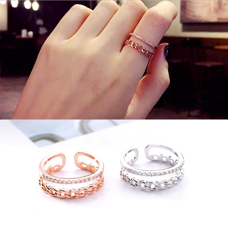 MENGJIQIAO 2018 Новое поступление микро проложить Циркон двухслойные кольца для женщин элегантное регулируемое кольцо на палец Подарок на годовщину