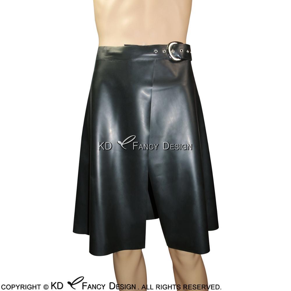 Black Sexy Latex Kilt Skirts With Belts Short Rubber Bottoms Uniform DQ-0008