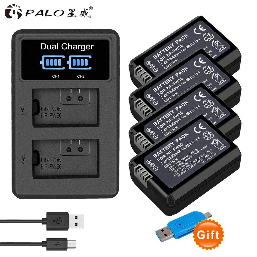 Palo 4 Uds 2000mAh NP-FW50 NP-FW50 de batería Digital LCD + cargador...