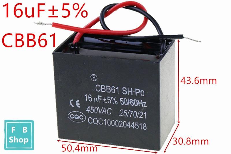 1 Uds CBB61 16uF 450VAC que capacitancia VENTILADOR DE CA condensador CBB funcionamiento del motor condensador