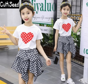 Girls Summer Dress Sets Clothing Children Red Love Heart Printing Tops+Plaid Dress Sets Students Casual 2PCS Suits Clothes