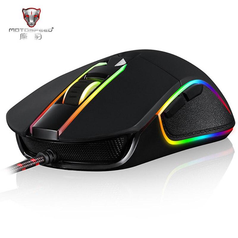 Motospeed v30 profissional gaming mouse usb com fio ajustável 3500 dpi definição rgb led backlight para o jogador de computador