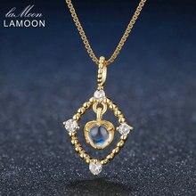 Lamoon 4mm naturel clair bleu pierre de lune 925 en argent Sterling chaîne pendentif collier bijoux S925 LMNI036