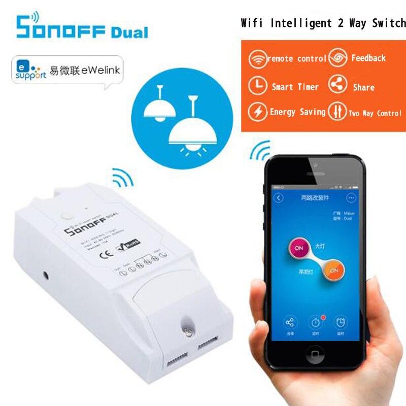 Умный переключатель Sonoff Dual 2CH WiFi, беспроводной модуль автоматизации умного дома с дистанционным управлением, двухканальный переключатель с помощью IOS Android