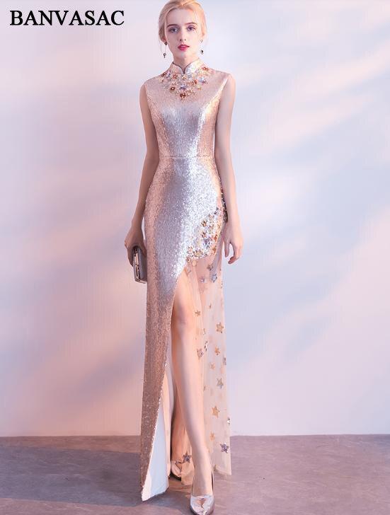 Банвасак 2020, длинное вечернее платье с жемчугом и высоким горлом, расшитое блестками, с разрезом, с металлическим поясом, Кружевная аппликац...