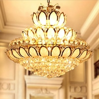 Gold Crystal Chandeliers Light Fixture American LED Lotus Crystal Chandelier Hotel Home Foyer Restaurant Droplights AC110V 220V