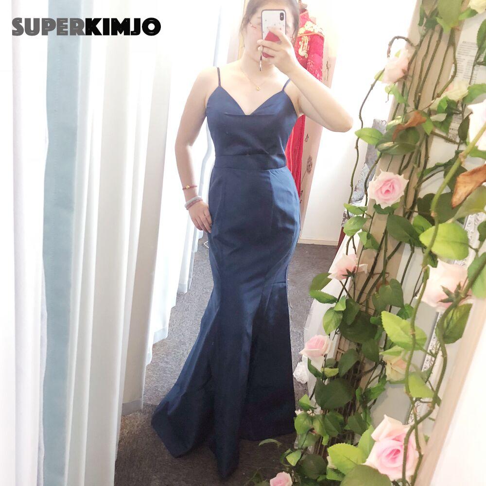 SuperKimJo azul marino vestidos de dama de honor largos sirena personalizado vestidos...