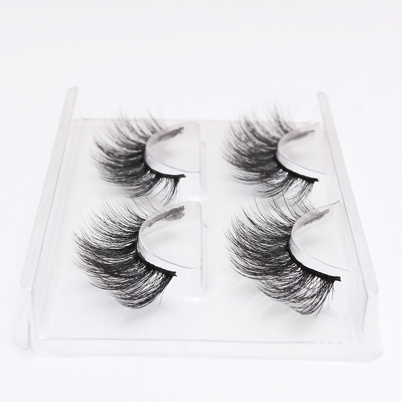 LEHUAMAO 2 Pairs 3D Mink Lashes Natural Long False Eyelashes Dramatic Volume Fake Lashes Makeup Eyelash Extension Silk Eyelashes недорого