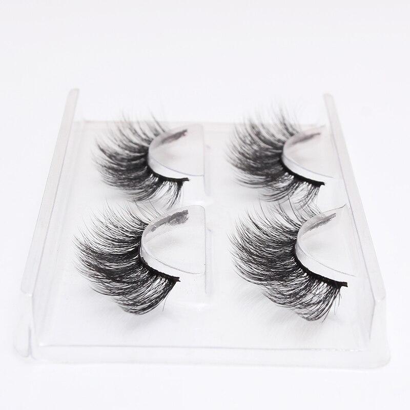 LEHUAMAO 2 Pairs 3D Mink Lashes Natural Long False Eyelashes Dramatic Volume Fake Lashes Makeup Eyelash Extension Silk Eyelashes