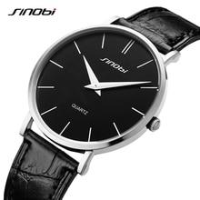 SINOBI Ultra thin Classic Casual Quartz Wrist watches Men Busness Brand Leather Analog Relojes hombr
