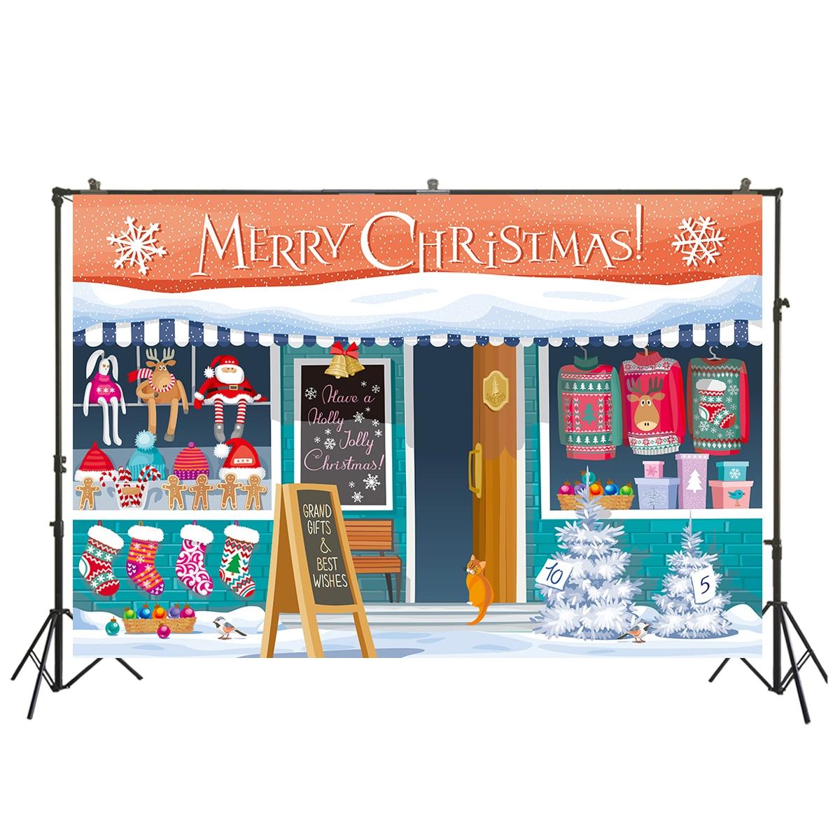 Photography Background Christmas Shop Board Sock Tree Santa Claus Customized Photographic Backdrops for Photo Studio XT-7737