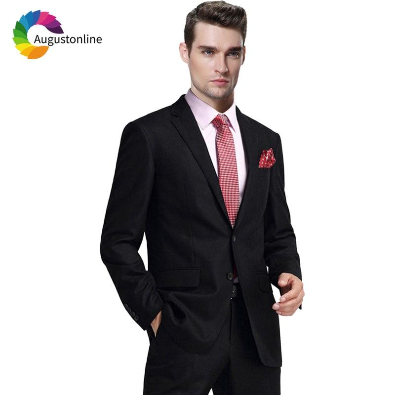 Формальные деловой мужской костюм черный Slim Fit Свадебные жених смокинг под заказ блейзер мужской пиджак брюки 2 шт Terno