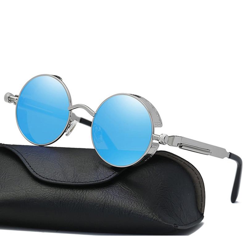 Descuento Global, gafas de sol Steampunk para hombre HD, gafas de sol redondo de aleación de Metal polarizadas, gafas de sol clásicas góticas, accesorios para gafas