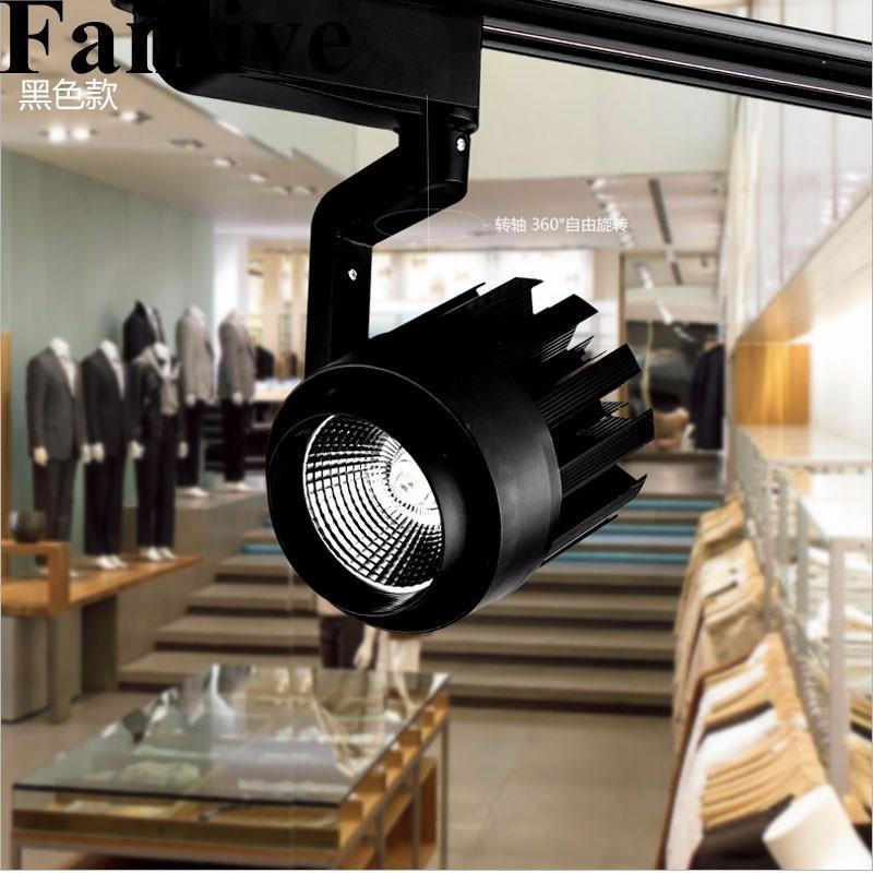 Lámparas de iluminación LED sobre riel Fanlive, 30W, accesorio de iluminación de pista comercial para tienda de ropa, centro comercial, iluminación de punto de riel AC 85-265V