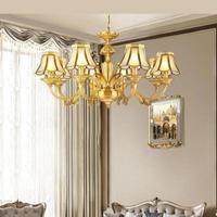 European Chandelier All Copper Living Room Chandeliers Household Bedroom Lamps Creative Dining Room Chandelier Lighting