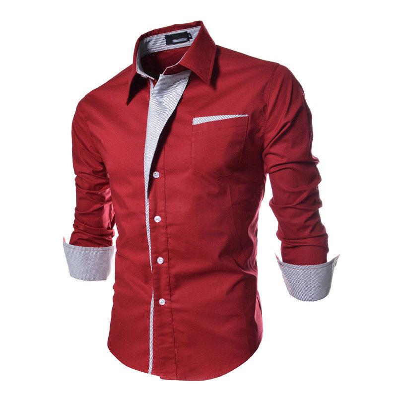Hirigin 2019 Luxury Men Stylish Casual  Shirt Slim Fit Shirt Long Sleeve Formal Blouse