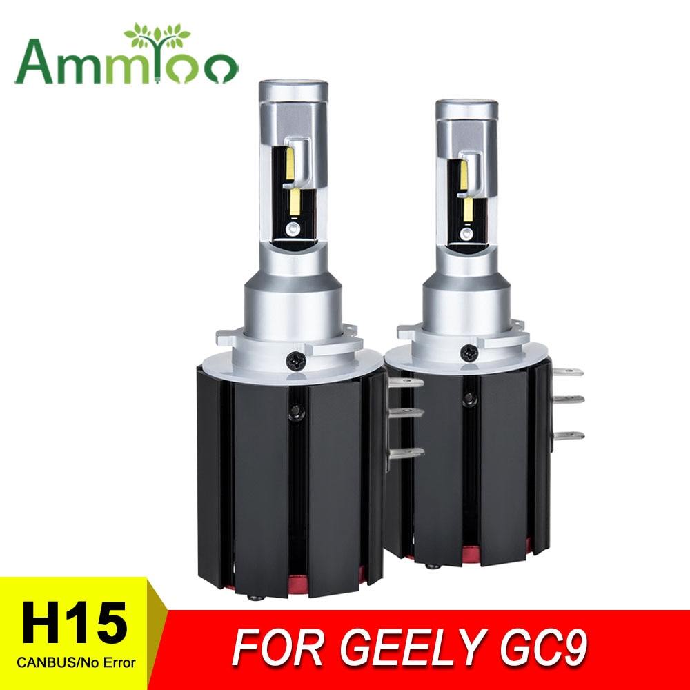 AmmToo High Brightness H15 Car LED Headlight Bulb No Error w/ DRLs 12000Lm 6000K White Replace For GEELY GC9 BORUI 2015/16