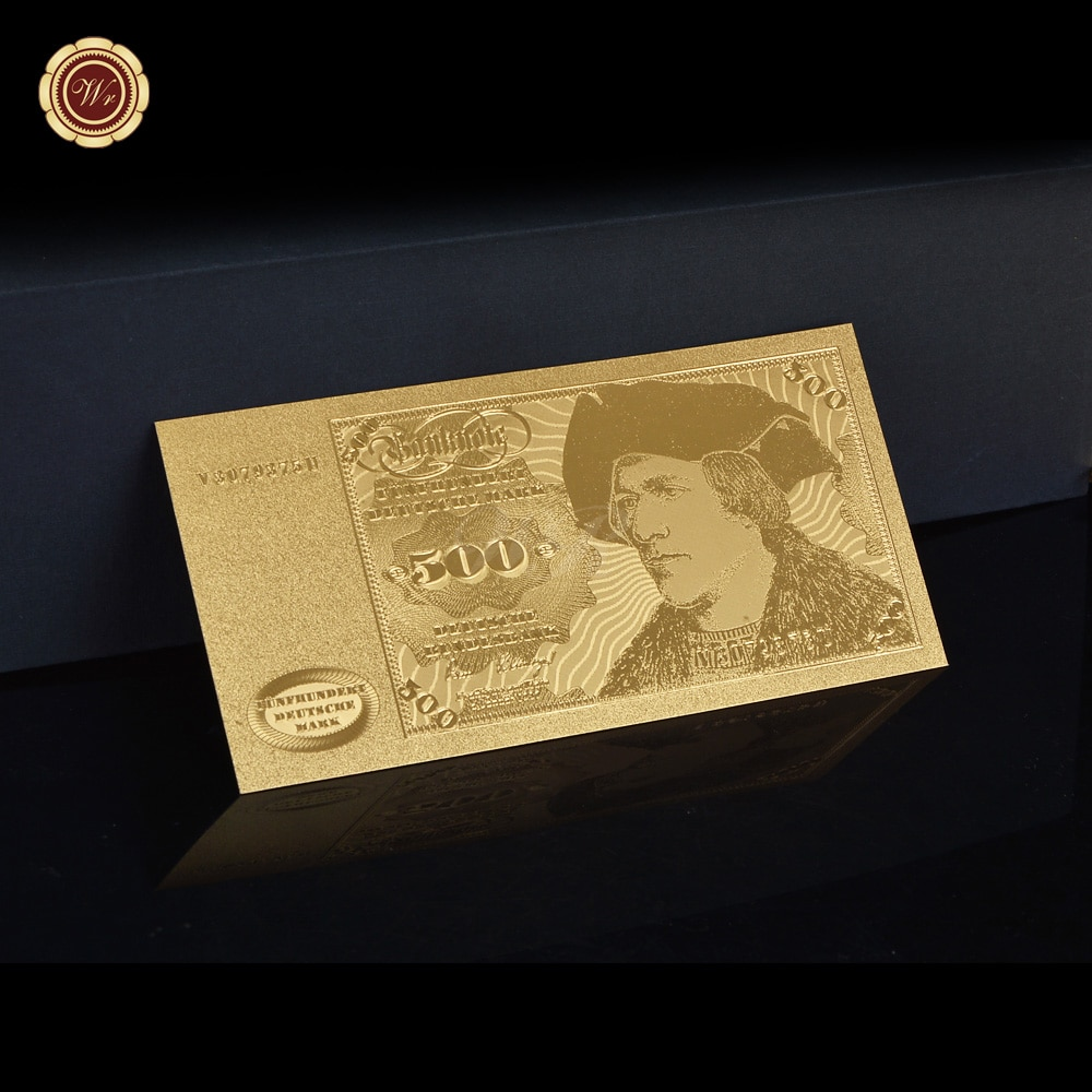 WR Germany Gold Foil 500 Deutsche Fake Money Golden Banknote Collectible Business Gift 24k Gold Plated Banknotes
