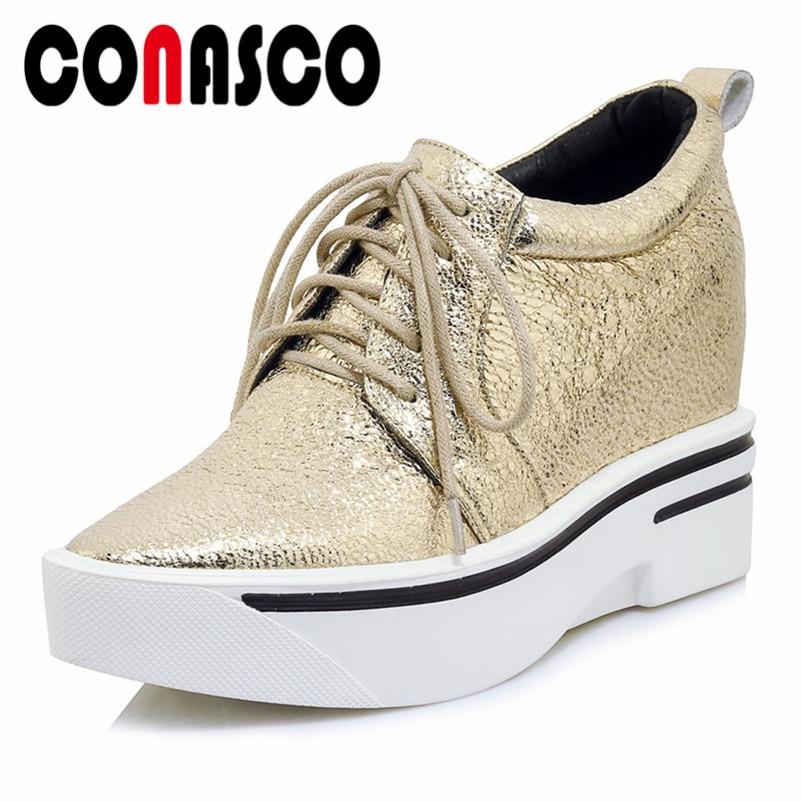 Marca de moda CONASCO bombas básicas cuñas plataformas de tacón alto oro plata zapatos de fiesta de boda mujer Mujer Zapatos Corss-tied