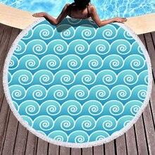 Boho Plaj Havlusu Baskılı Açık Mavi Geometri Plaj Havlusu Mikrofiber Yuvarlak Kumaş banyo havluları Için Oturma Odası Ev Dekoratif