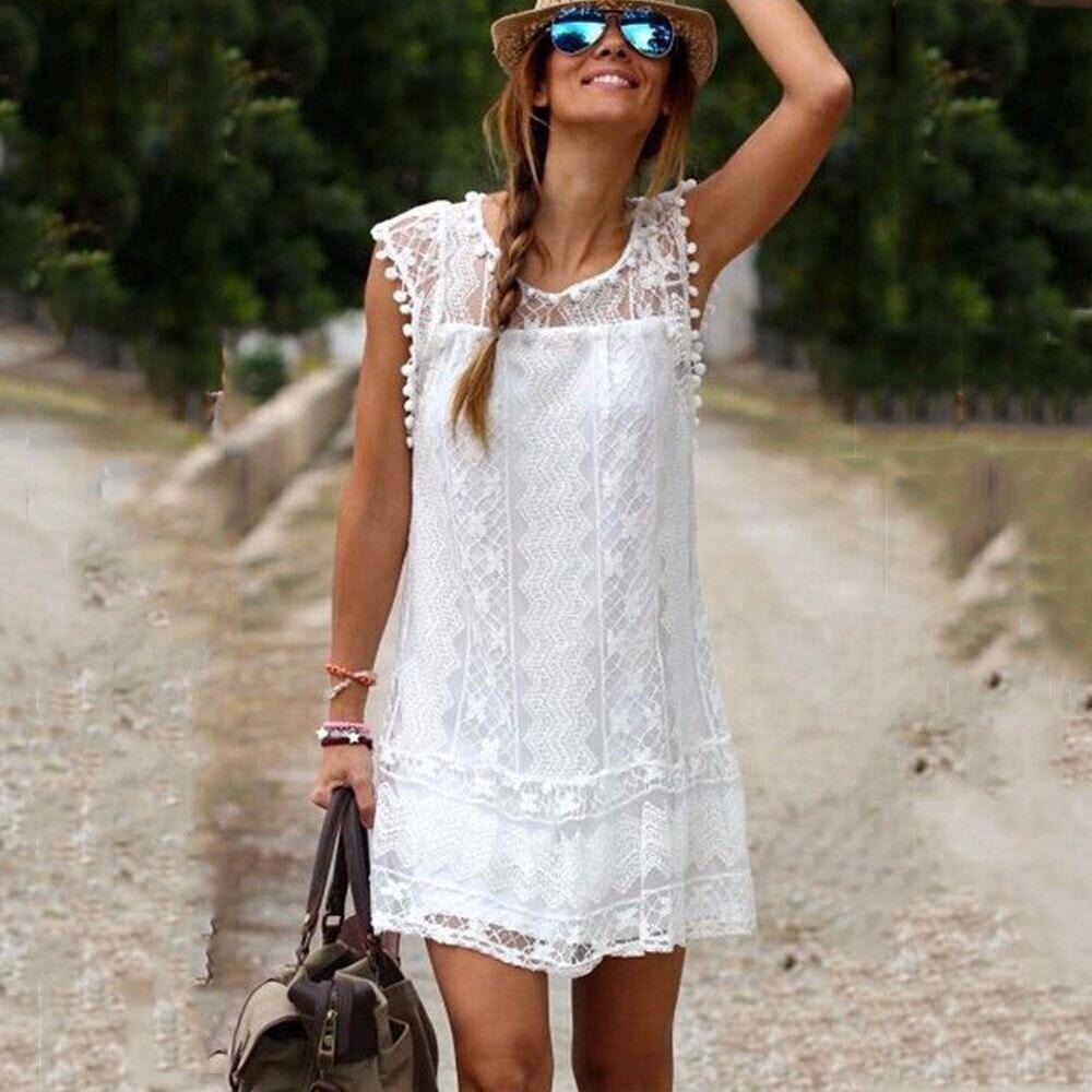 Summer Dress Women Casual Beach Short Dress Tassel Midi Lace White Dress Sexy Party Dresses Female Vestidos Plus Size robe femma