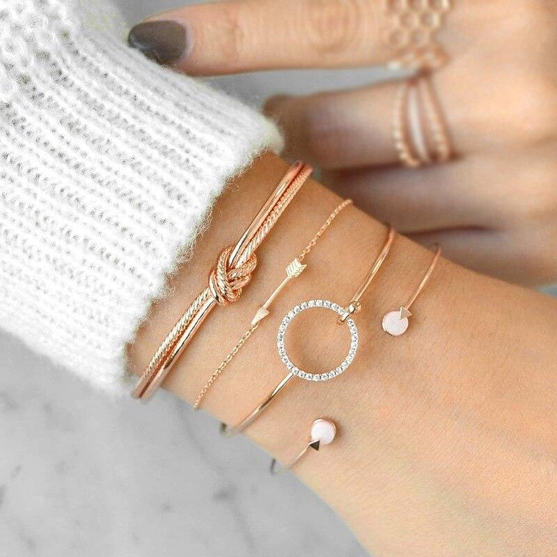 MINHIN 4 unids/set de pulseras redondas de cristal de nudo de flecha Set de pulsera abierta ajustable multicapa para mujeres brazaletes joyería para mujer