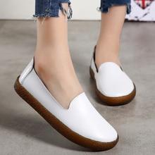 Chaussures plates pour femmes grande taille 43 chaussures en cuir véritable mocassins à enfiler chaussures plates pour infirmières chaussures décontractées en cuir pour femmes
