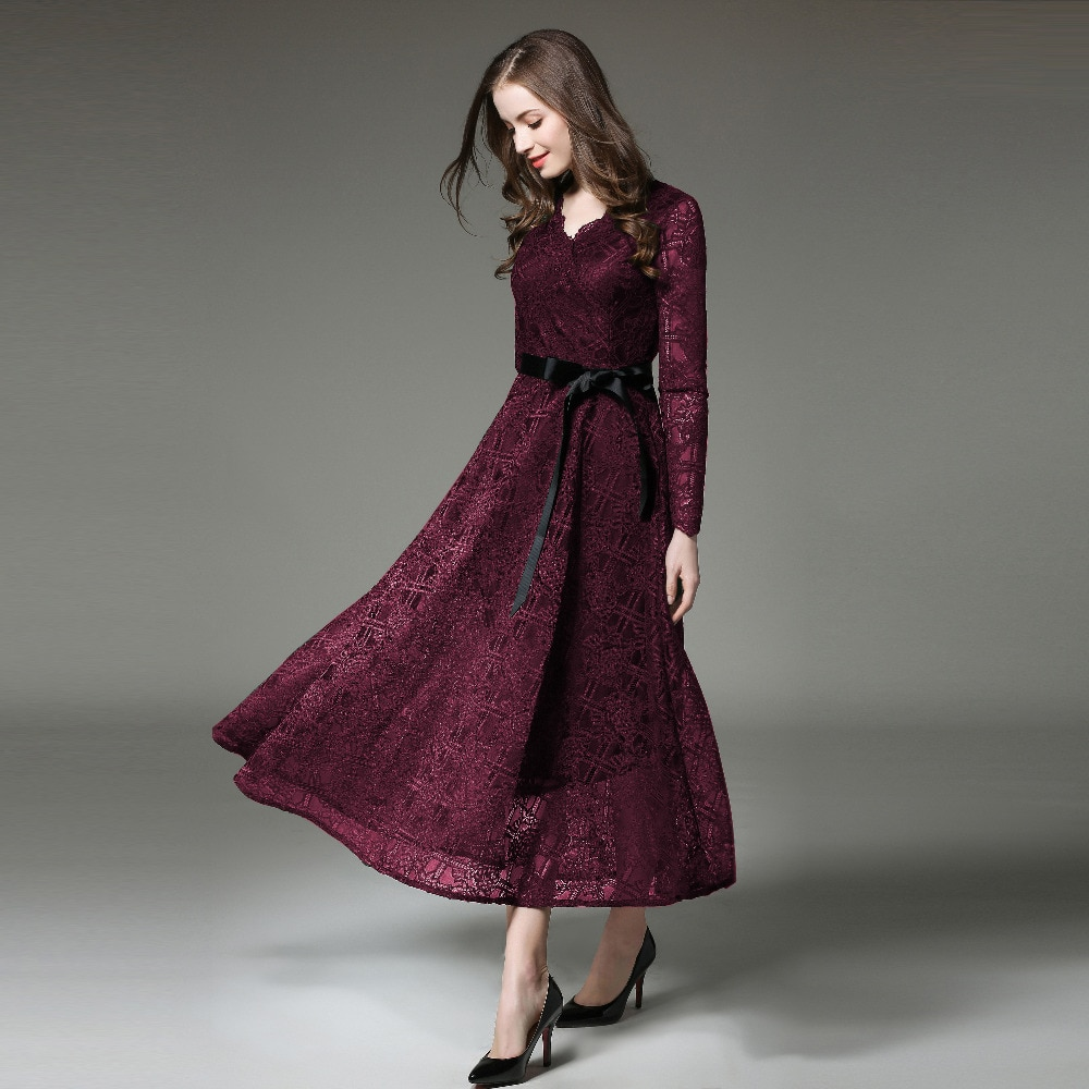 Spring Runway Dress 2019 Elegant Party dress New Fashion Women Long sleeve Maxi Luxury Lace Dress
