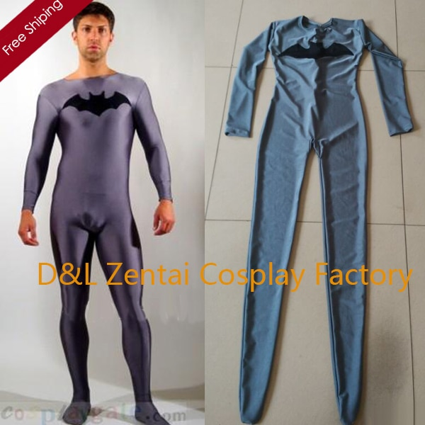 Free Shipping DHL Dark Gray Batman Spandex Lycra Suit Cheap Halloween Party Super Hero Catsuit SC11301