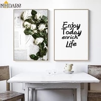 nordic paper flowers enjoy today enrich life quote canvas print painting poster art wall pictures for living room home decor