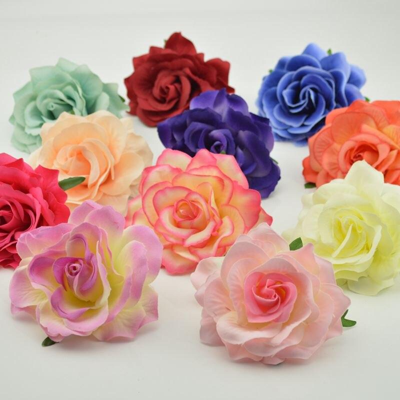 2 uds 10cm barato floración de seda rosas de flores artificiales para la boda coche decoración DIY materiales para guirnaldas horticultura falsa flor