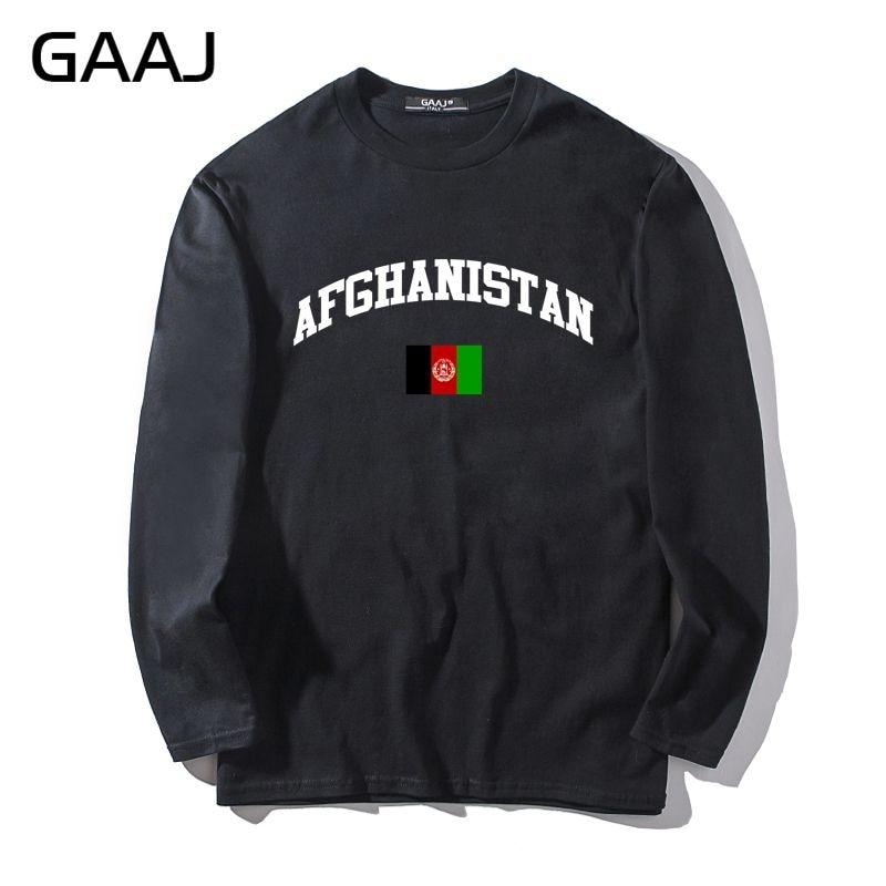 T camisa de los hombres GAAJ Bandera de Afganistán impreso hombre y mujeres Unisex de manga larga ropa de marca divertido ropa de marca Diy # TQZCA