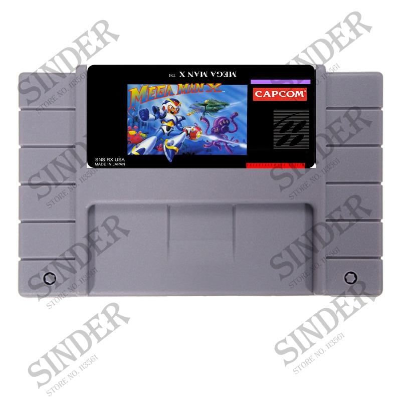 Megaman X USA versión 16 bit tarjeta de juego gris grande para NTSC/PAL jugador de juego