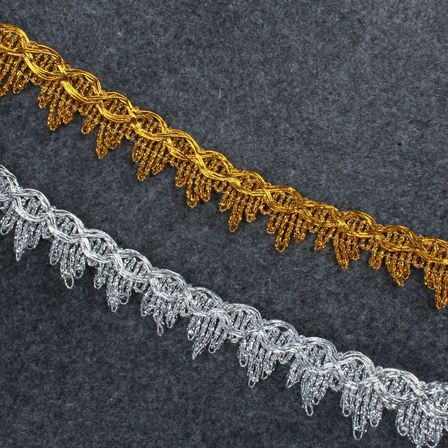 14 Yards Gold Silber Spitze Band Weiche Polyester Spitze Band Trim DIY Nähen Garment Handmade Materialien 2 cm Breit
