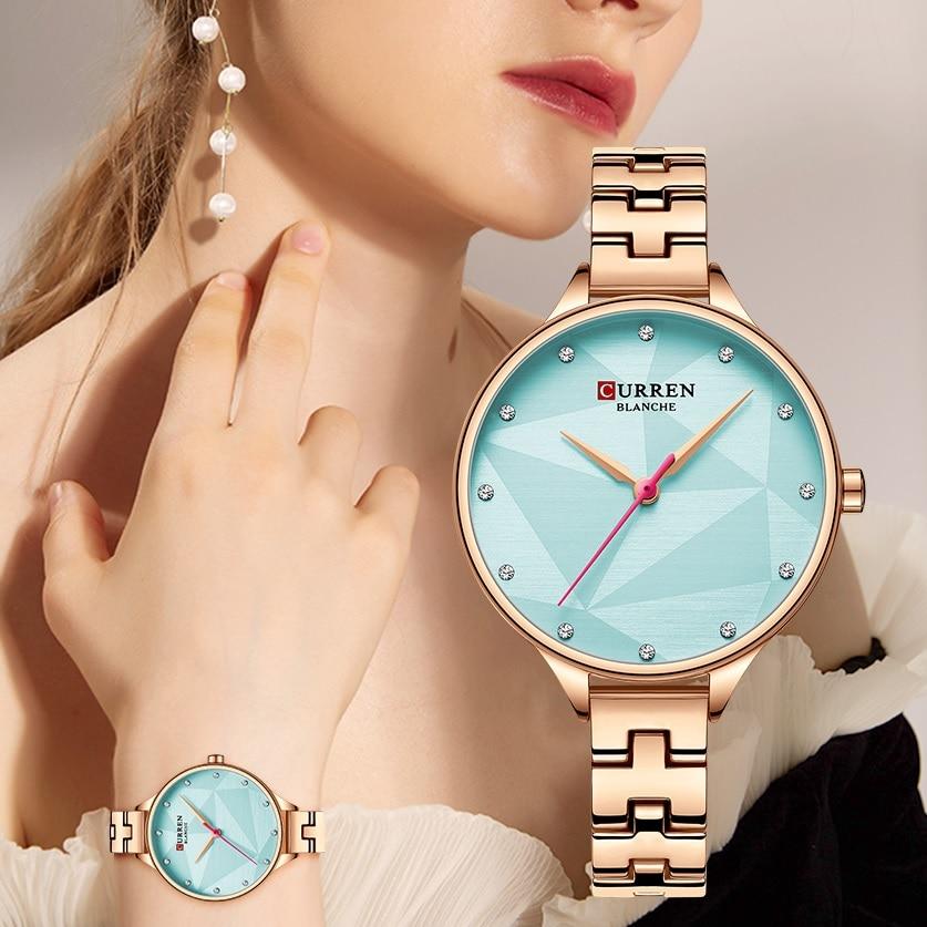 CURREN Ladies Watches Quartz Wrist Watch Clock Crystal Sky Blue Dial Woman Rose Golden Stainless Steel Bracelet Relogio Feminino enlarge